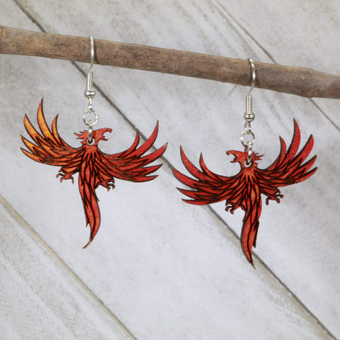 Flaming Phoenix Dangle Earrings