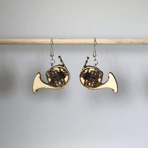 French Horn Wooden Dangle Earrings - cates-concepts.