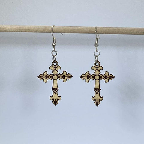 Gothic Cross Wooden Dangle Earrings