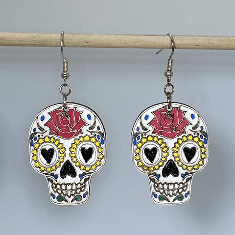 Heart Eyes Day of The Dead Skull Wooden Dangle Earrings