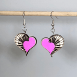 Heart Piano Wooden Dangle Earrings