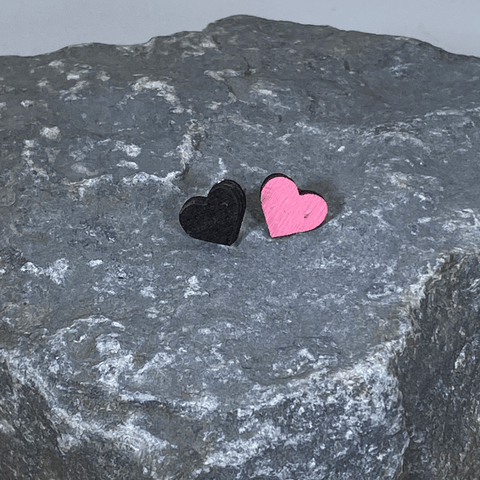 Heart Wooden Stud Earrings Pink and Black