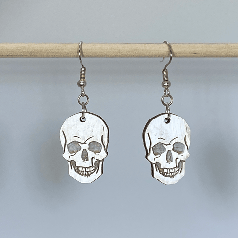 Human Skull Wooden Dangle Earrings - cates-concepts.