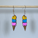 Ice Cream Cone Wooden Dangle Earrings