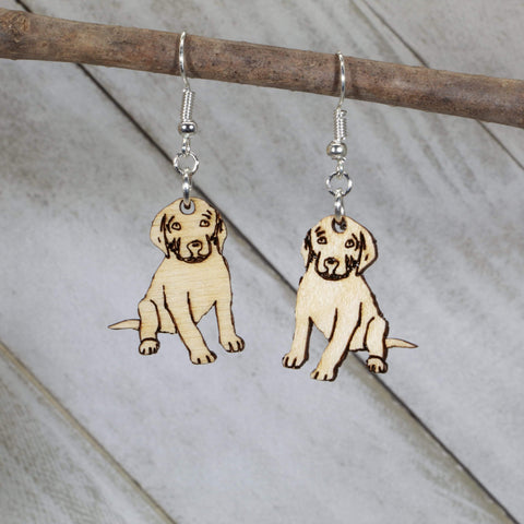 Labrador Puppy Wooden Dangle Earrings - cates-concepts.