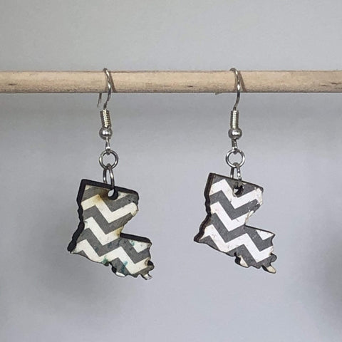 Louisiana State Chevron Wooden Dangle Earrings - cates-concepts.