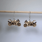 Motorcycle Wooden Dangle Earrings - cates-concepts.