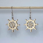 Nautical Ships Wheel Wooden Dangle Earrings - cates-concepts.