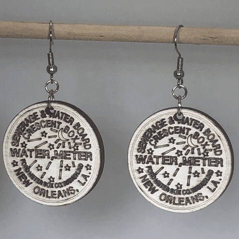 New Orleans Water Meter Wooden Dangle Earrings - cates-concepts.