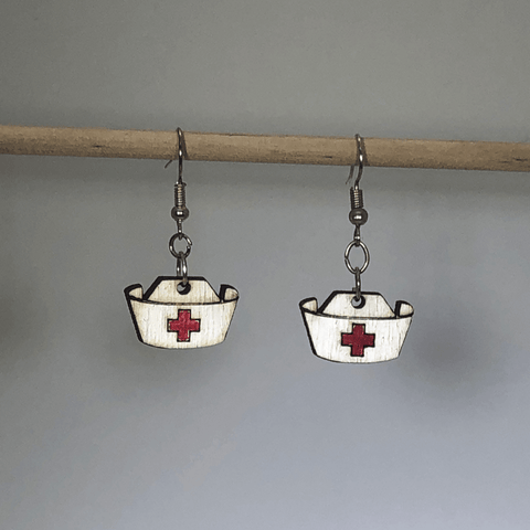 Nurses Hat Wooden Dangle Earrings - cates-concepts.
