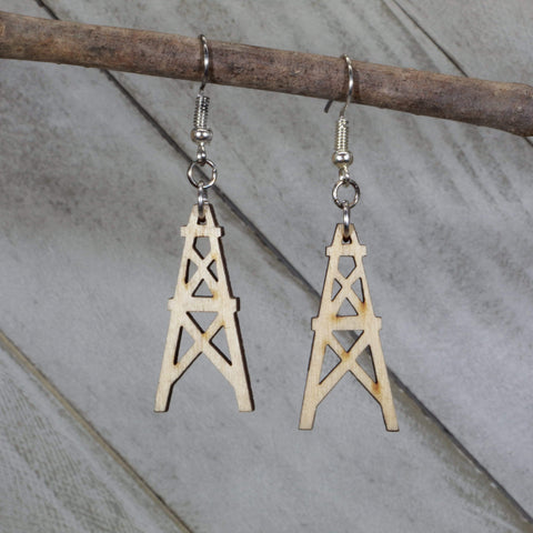Oil Derricks Wooden Dangle Earrings