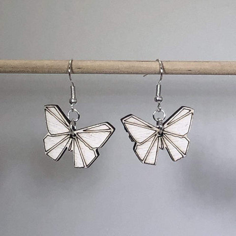 Origami Butterfly Wooden Dangle Earrings