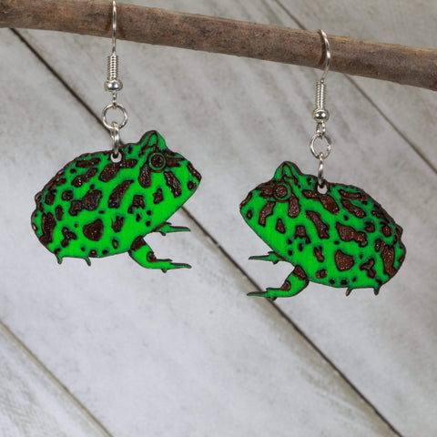 Pacman Frog Wooden Dangle Earrings - cates-concepts.