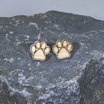 Paw Print Wooden Stud Earrings Plain Natural Wood