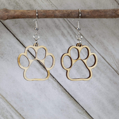 Paws Cut Out Wooden Dangle Earrings
