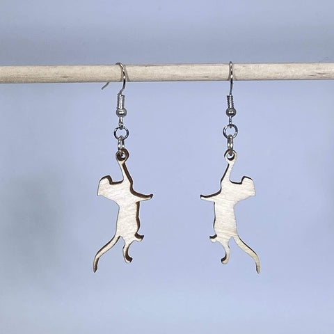 Playful Hanging Cat Wooden Dangle Earrings
