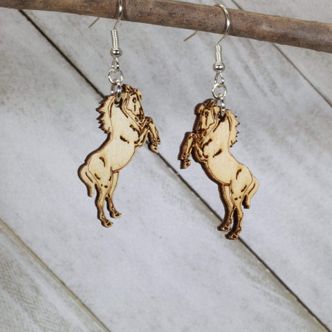 Realistic FFA Mustang Horses Wooden Dangle Earrings