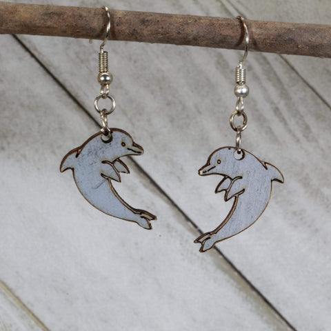 Realistic North Shore Dolphin Wooden Dangle Earrings