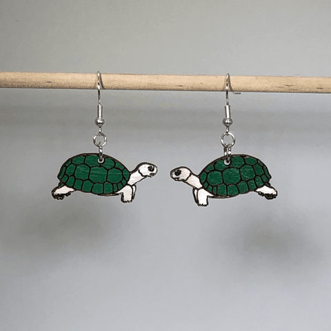 Realistic Turtle or Tortious Wooden Dangle Earrings