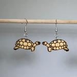 Realistic Turtle or Tortious Wooden Dangle Earrings - cates-concepts.