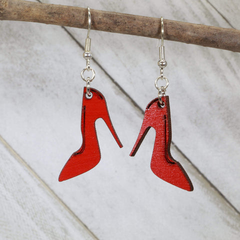 Red High Heel Wooden Dangle Earrings