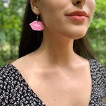 Sexy Lips and Lipstick Dangle Earrings Pink and white lips