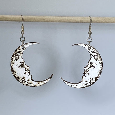 Crescent Moon Face Wooden Dangle Earrings