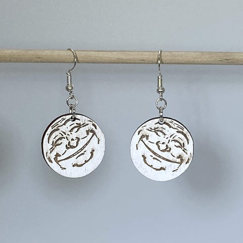 Smiling Moon Wooden Dangle Earrings