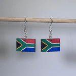 South African Flag Wooden Dangle Earrings