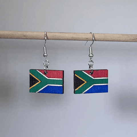 South African Flag Wooden Dangle Earrings - cates-concepts.