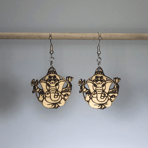 Spiritual Ganesh Hindu Wooden Dangle Earrings - cates-concepts.