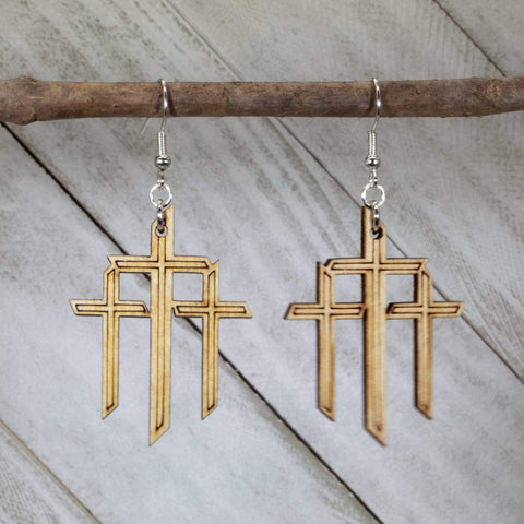 Triple Cross Wooden Dangle Hanging Earrings
