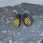 Tropical Pineapples Wooden Dangle Earrings - cates-concepts.