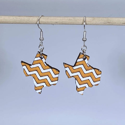 University Of Texas Chevrons Wooden Dangle Earrings