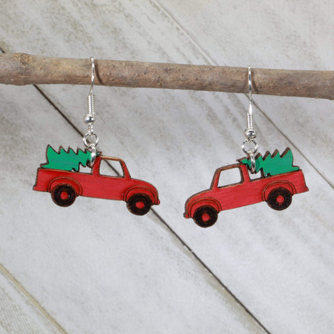 Vintage Red Truck Christmas Tree Wooden Dangle Earrings