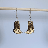 Western Cowboy Boots Dangle Earrings Natural Wood