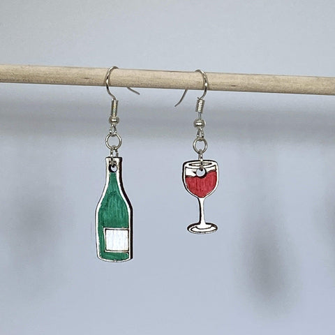 Wine Bottle and Wine Glass Wooden Mismatched Dangle Earrings