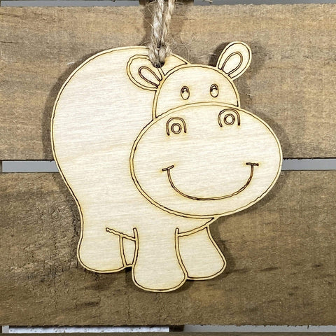 Happy HIppo Wooden Christmas Ornaments - cates-concepts.