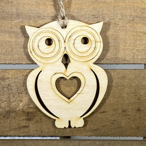 Heart Owl Wooden Christmas Ornaments