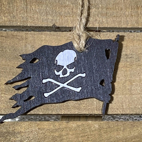 Jolly Rodger Pirate Christmas Wooden Ornaments - cates-concepts.