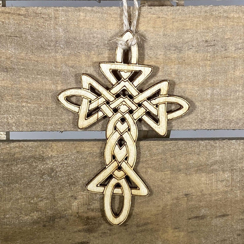 Celtic Cross Wooden Christmas Ornaments - cates-concepts.