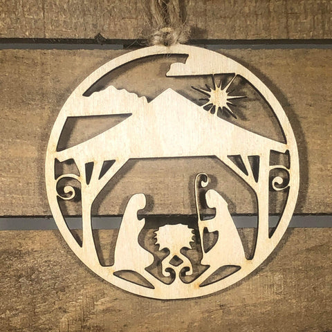 Circle Nativity Scene Wooden Ornaments - cates-concepts.