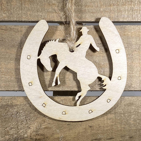 Cowboy and Horseshoe Wooden Ornaments