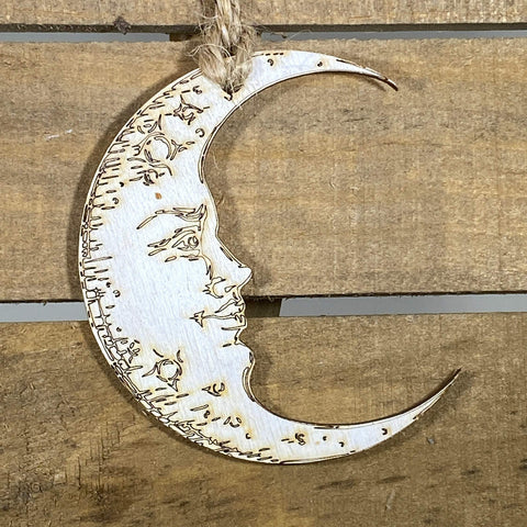 Crescent Moon With a Face Wooden Christmas Ornament