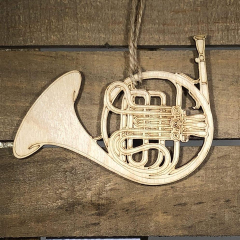 French Horn Christmas Wooden Ornaments