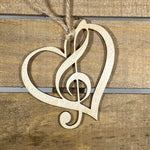 Heart Treble Clef Christmas Wooden Ornaments - cates-concepts.