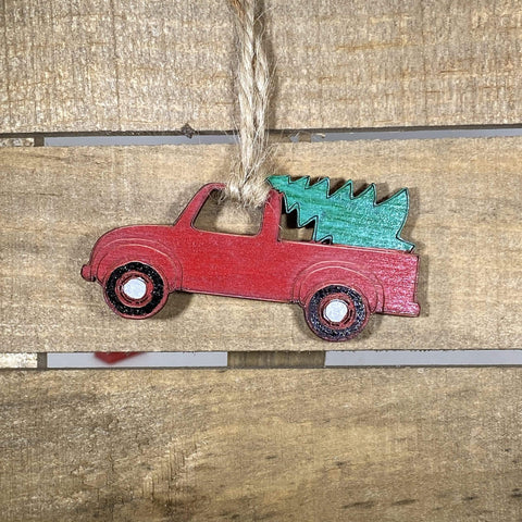 Little Red Truck Wooden Ornaments