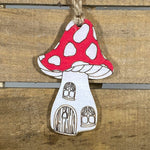 Mushroom House Wooden Christmas Ornaments