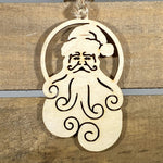 Natural Santa Wooden Christmas Ornaments