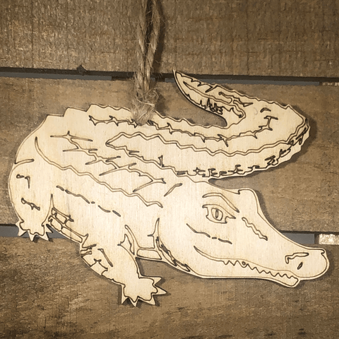 Realistic Alligator Wooden Christmas Ornament